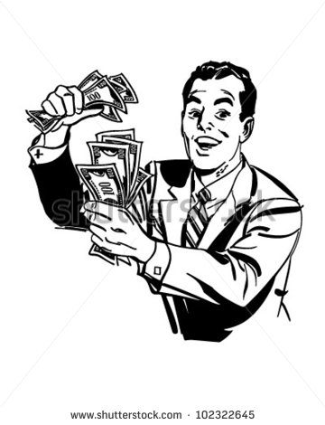 Man With Cash - Retro Clipart Illustration