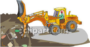 Man Working At a Landfill - Royalty Free Clipart Picture