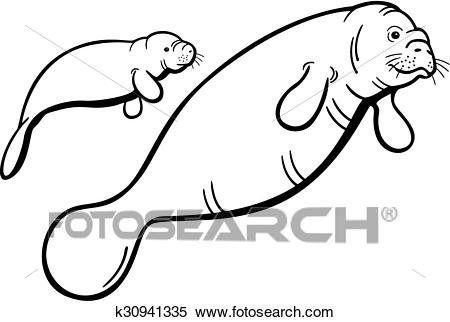 Clipart - Manatee and Calf. Fotosearch - Search Clip Art, Illustration  Murals, Drawings