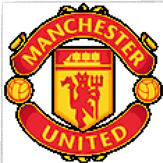 BUY 2, GET 1 FREE! Manchester United Logo 275 Cross Stitch Pattern Counted  Cross Stitch Chart, Pdf Format, Instant Download /115115