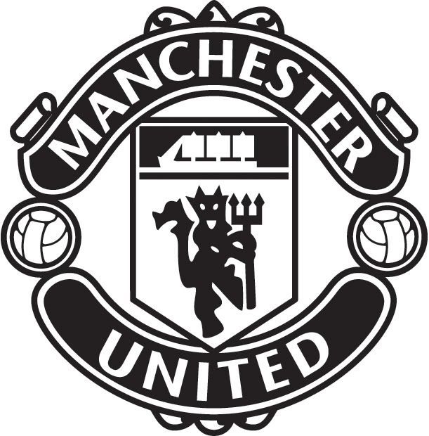 manchester united logo black and white