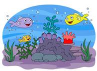marine life sea anemone colorful fish clipart. Size: 86 Kb
