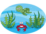 marine life sea turtle red crab clipart. Size: 87 Kb