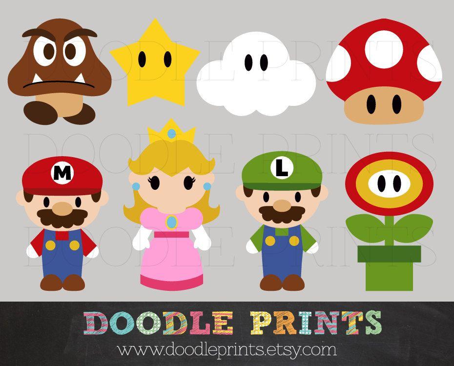 Mario Bros Clipart Digital Clip Art Printable by doodleprints