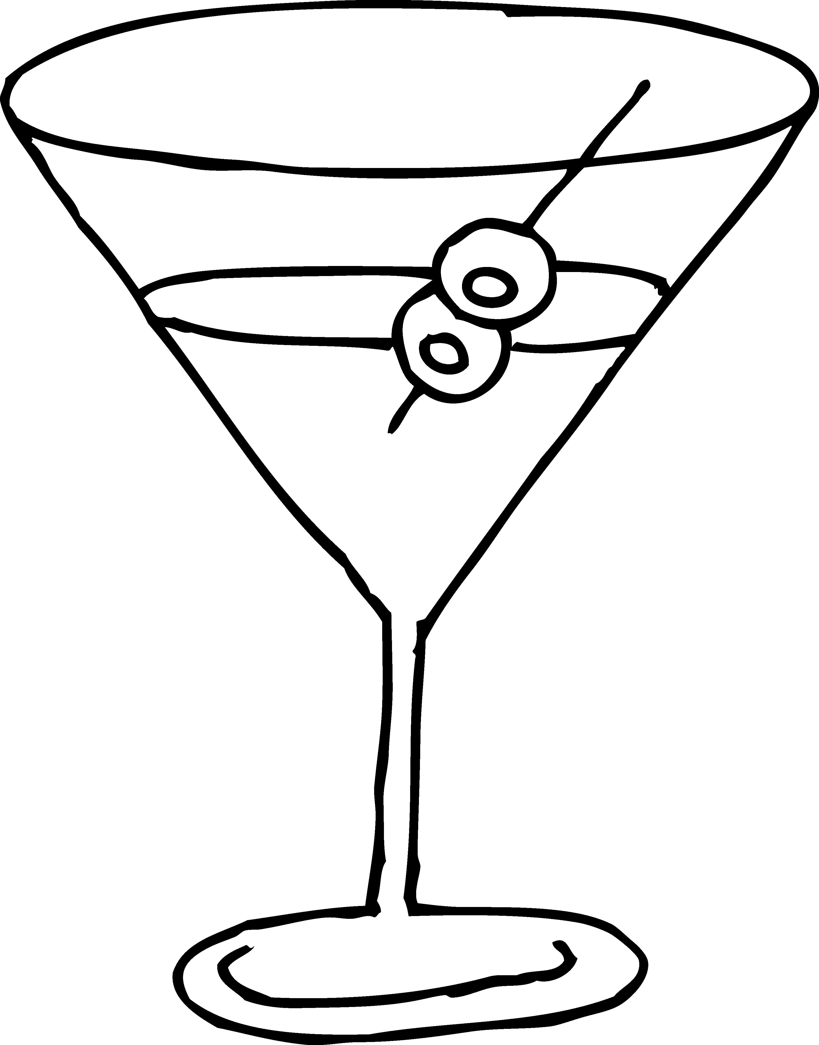 Martini glass line art free clip art