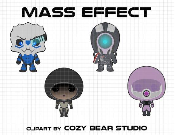 Mass Effect Clipart - Garrus Vakarian, Legion, Kasumi Goto, Taliu0027Zorah,  Instant Download, baby, cute, Mass Effect birthday, N7, Mass Effect from ClipartLook.com
