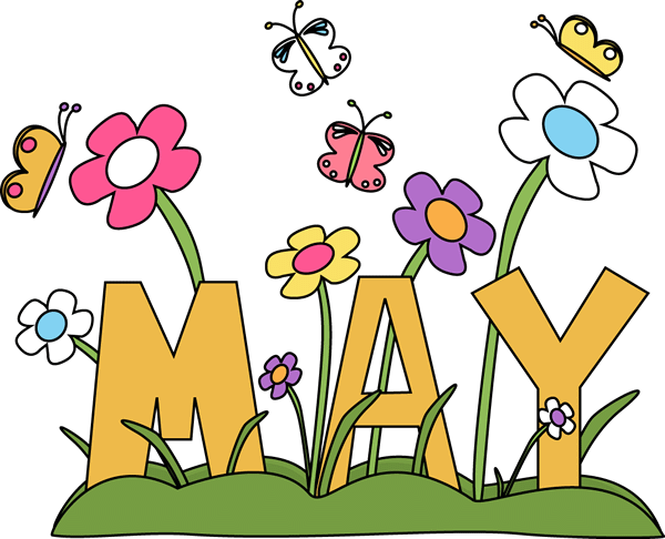 May Day Flowers And Butterfly Clipart