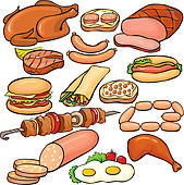 Hamburger · Meat products icon set