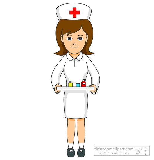 Medical Nurse Holding Tray With Medicine Classroom Clipart