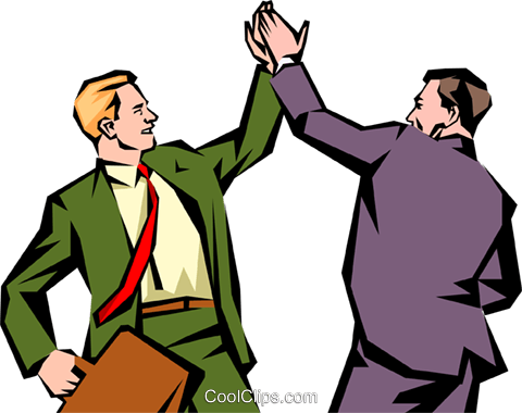 Men giving each other a high-five Royalty Free Vector Clip Art ..