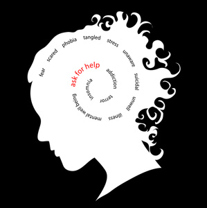 Mental Illness Clipart Image Depressed Frightened Woman With Scary