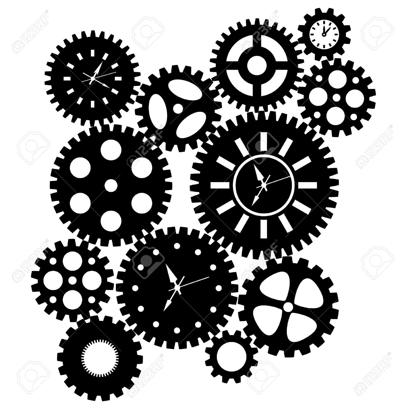 Illustration - Time Clock Gears Clipart Black SIlhouette Isolated on White  Background Illustration