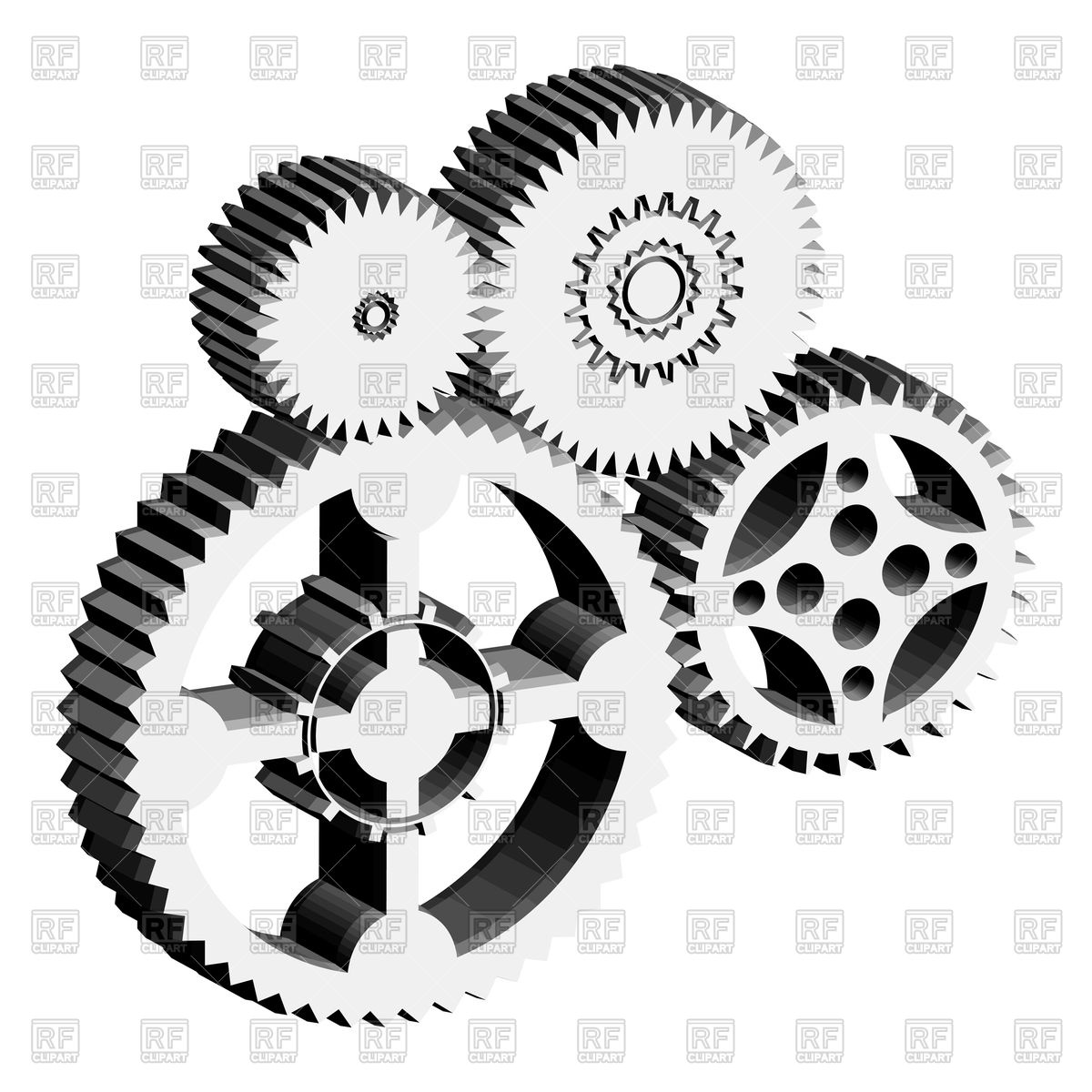 Metal gears and cogwheels Royalty Free Vector Clip Art