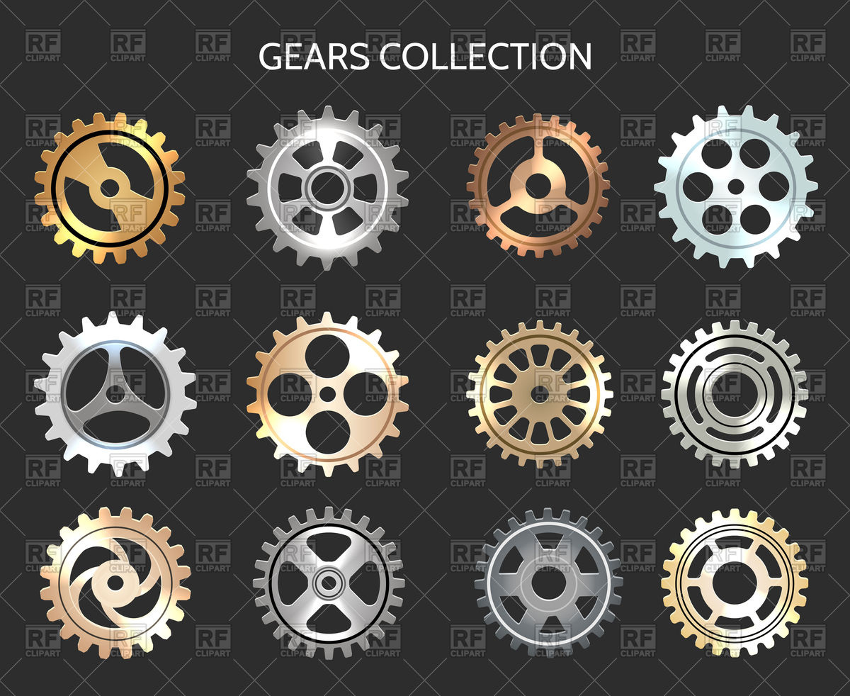 Metal gears illustration isolated on black background Royalty Free Vector Clip  Art