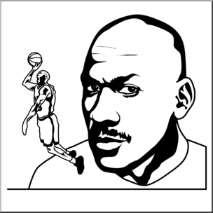 Clip Art: Michael Jordan Bu0026W I abcteach clipartlook.com - preview 1