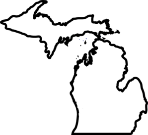 Michigan Map, Thick Outline Clip Art