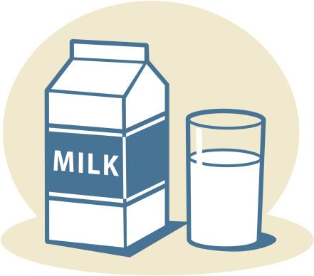 Milk carton with glass of milk .