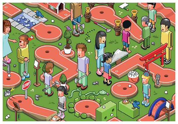Minigolf mayhem vector art illustration