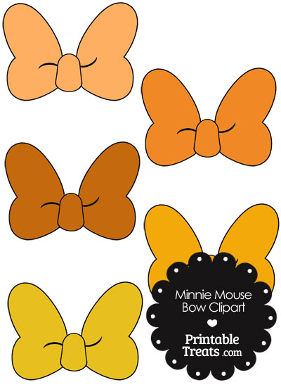 Minnie Mouse Bow Clipart in Shades of Orange from PrintableTreats hdclipartall.com