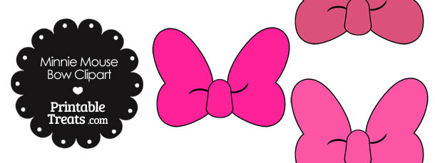 Minnie Mouse Bow Clipart in Shades of Pink
