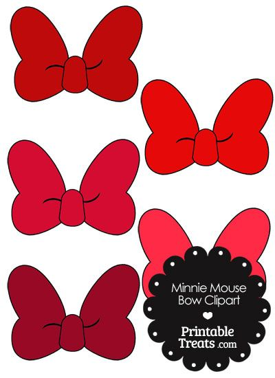 Minnie Mouse Bow Clipart in Shades of Red from PrintableTreats hdclipartall.com