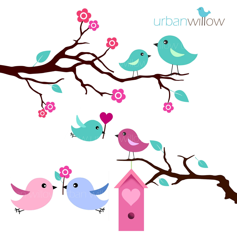 MINT LOVE BIRDS - Clip art set