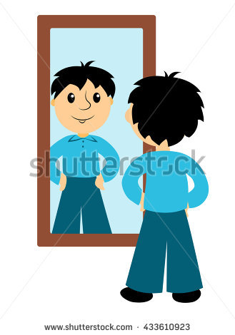 The boy looks in a mirror. Clip art for business. Isolated on white.