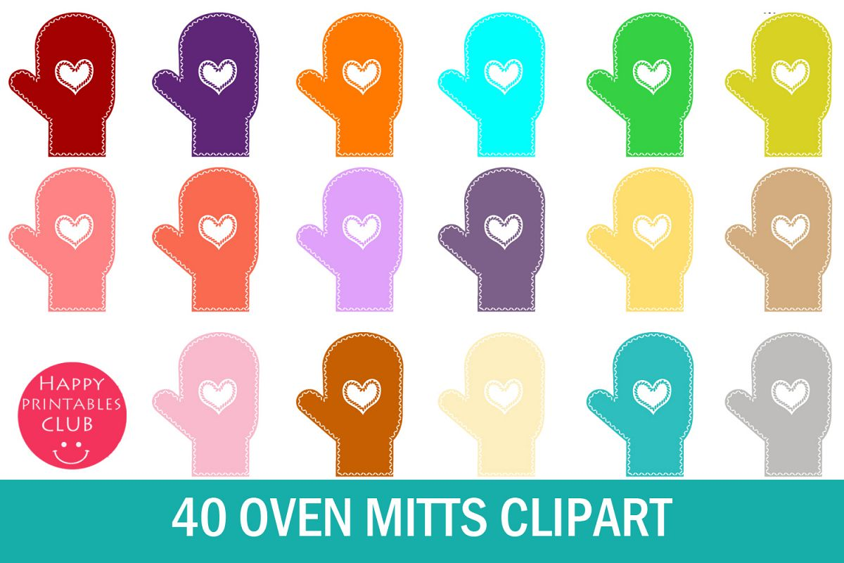 40 Oven Mitts Clipart- Mitten Clipart- Colored Mitten PNG example image 1