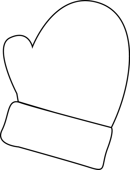 mittens clip art | Black and White Mitten Clip Art - black and white  outline of a mitten.