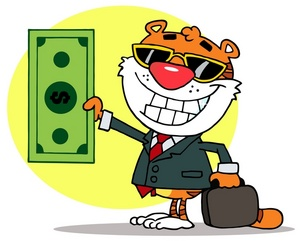 Money Clipart Image: clip art image of a tiger holding a briefcase and a  dollar