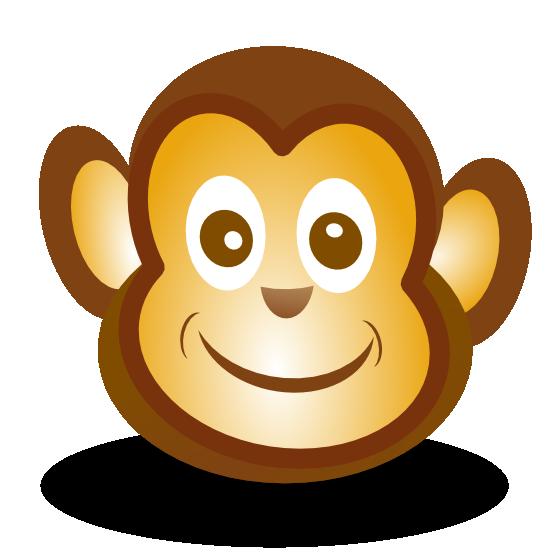 monkey face clip art black and white
