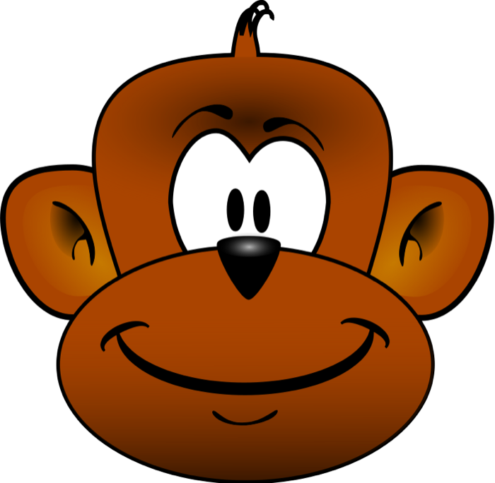 Monkey Face Hugs Clipart #1