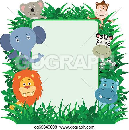 monkey with blank board u0026middot; Jungle Animals Frame