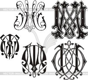 Monogram Mm Vector Clipart