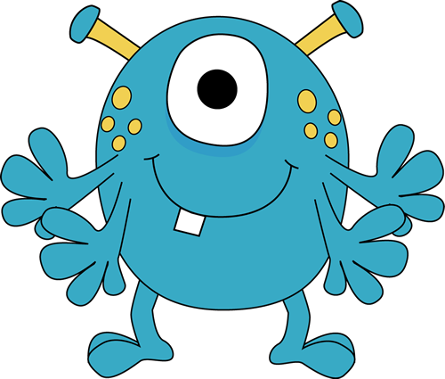 Monster Clipart For Kids | Four Arm Monster Clip Art Image - Blue Monster  With Four Arms, Yellow .