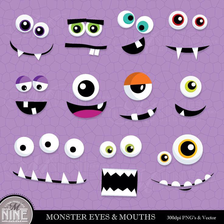 MONSTER EYES u0026amp; MOUTHS Clip Art Digital Clipart, Instant Download, Monster Faces Clipart Vector