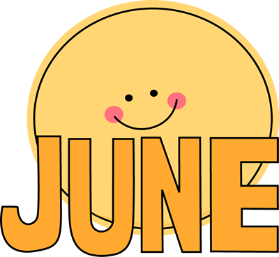 Month Of June Sun Clip Art Image The Word June In Orange With A