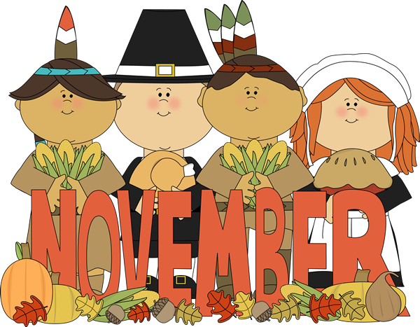 Month of November Indians and Pilgrims Clip Art - Month of