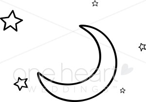 Black and White Stars and Crescent Moon Clipart