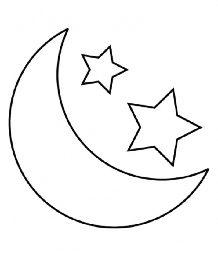 Clipart Of A Crescent Moon In Black And White. Eid