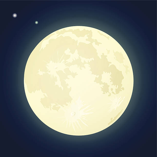 Full Moon on a Dark Blue Sky. - Moon Clipart