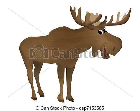 Moose Clipartby anortnik8/376; Moose - Childish illustration of a cute smiling moose