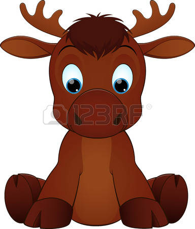 moose: Vector illustration of cute funny moose sitting and smiling Illustration