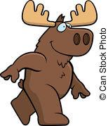 ... Moose Walking - A happy cartoon moose walking and smiling.