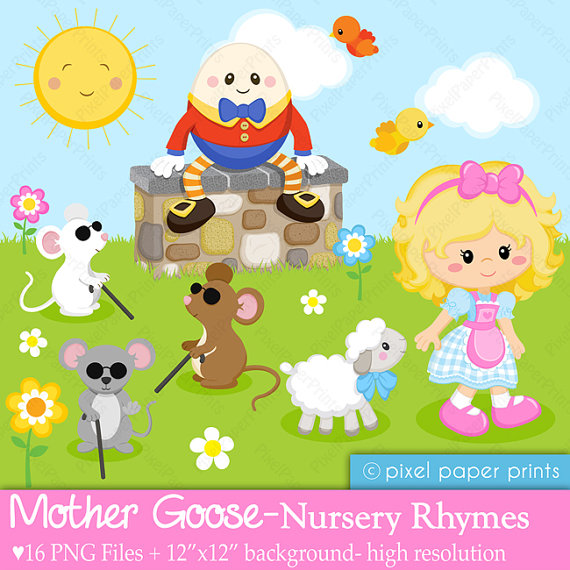 Mother Goose - Nursery Rhymes - Clipart and Digital paper set