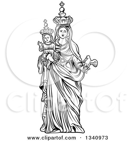 Clipart of a Black and White Virgin Mary Holding Baby Jesus and a Bird -  Royalty Free Vector Illustration by dero