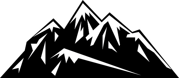 Clip Art Mountains - Mountain Clipart Black And White