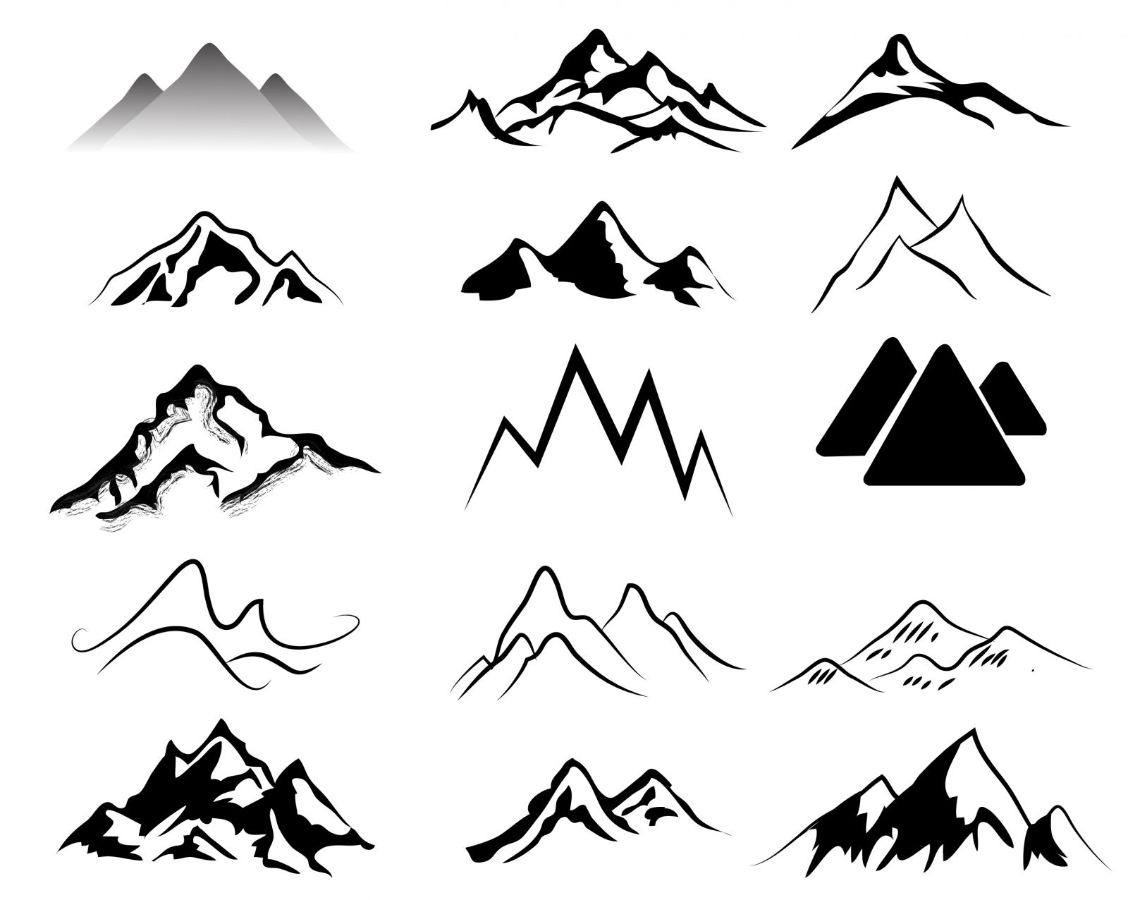 Mountain black and white idea - Mountain Clipart Black And White