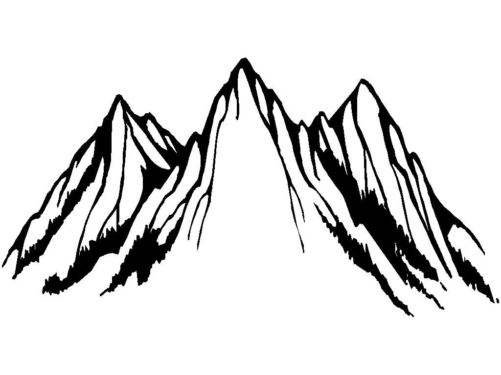 Mountain Clipart Black And White 2