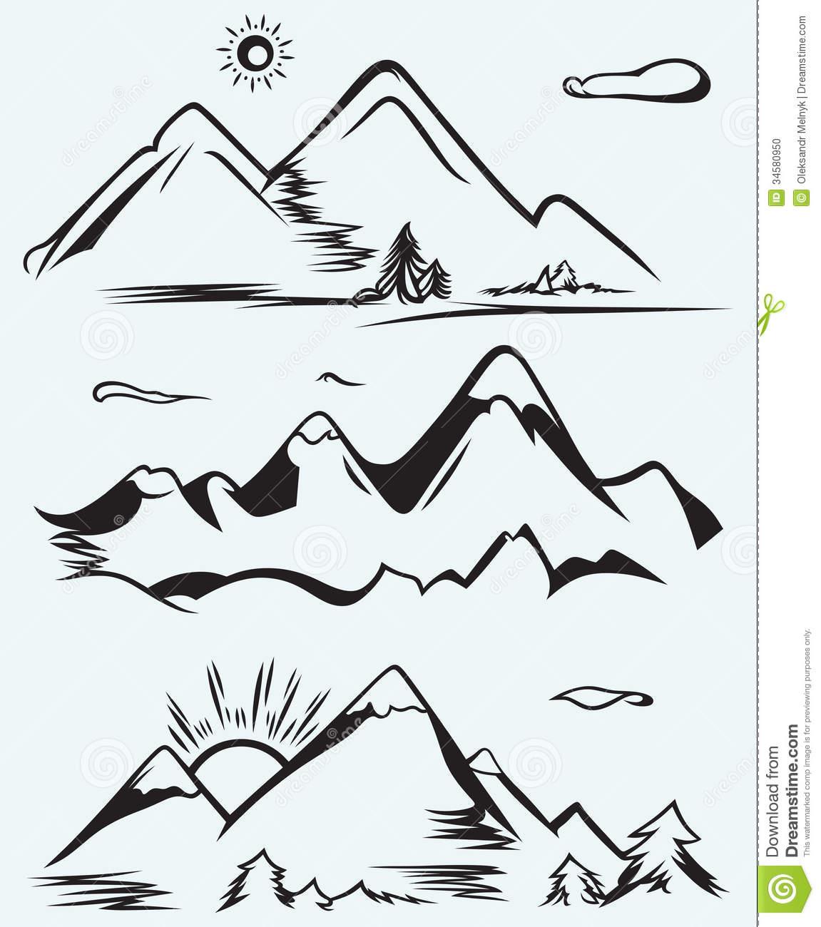 range clipart mountain range  - Mountain Clipart Black And White
